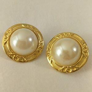 Large gold tone faux pearl earrings